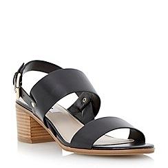 Dune - Black stack heel leather sandal
