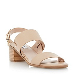 Dune - Neutral stack heel leather sandal