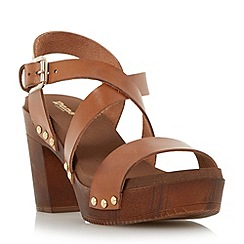 Dune - Brown cross over strap block heel sandal