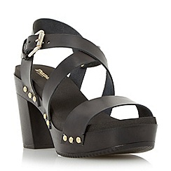 Dune - Black cross over strap block heel sandal