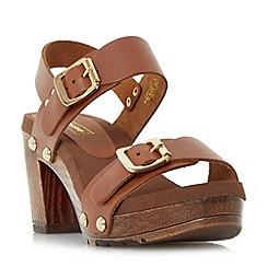Dune - Tan 'Icon' double buckle mid heel sandal