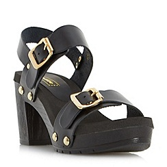 Dune - Black 'Icon' double buckle mid heel sandal