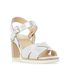Dune - Silver 'Judo' white sole mid heel sandal