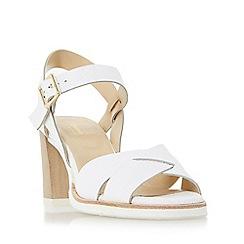 Dune - White 'Judo' white sole mid heel sandal