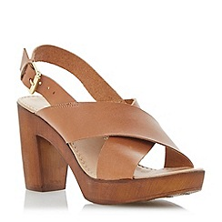 Dune - Brown leather wooden clog effect heeled sandal