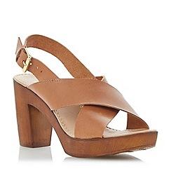 Dune - Brown leather wooden clog effect heeled sandal