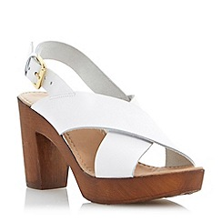 Dune - Neutral leather wooden clog effect heeled sandal