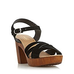 Dune - Black 'Jani' cross strap wooden effect platform sandal
