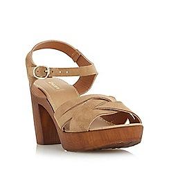 Dune - Taupe 'Jani' cross strap wooden effect platform sandal