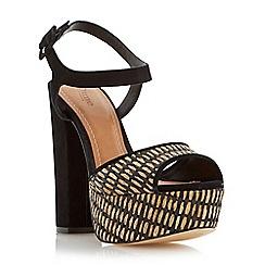 Dune - Black 'Inga' raffia platform block heel sandal