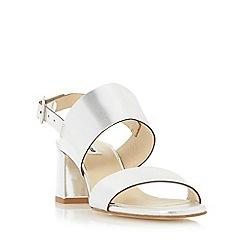 Dune - Silver 'Jester' front strap mid heel sandal