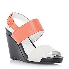 Dune - Bright colour block leather slingback wedge sandal