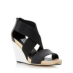 Dune - Black crossover strap leather wedge sandal