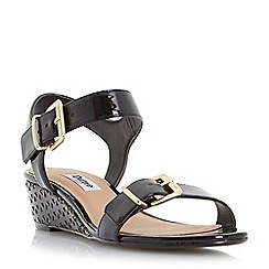 Dune - Black-synthetic 'Largo' buckle detail laser cut wedge sandal