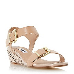 Dune - Nude-synthetic 'Largo' buckle detail laser cut wedge sandal