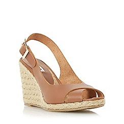 Dune - Tan 'Kia' leather cross strap wedge sandal