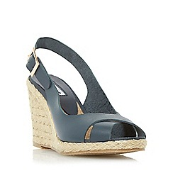 Dune - Navy 'Kia' leather cross strap wedge sandal