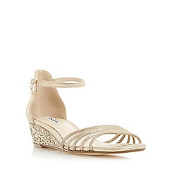 Dune - Gold 'Kayleen' strappy laser cut wedge sandal