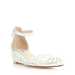 Dune - White 'Kayleen' strappy laser cut wedge sandal