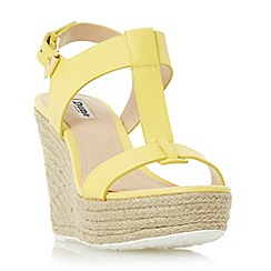 Dune - Yellow 'Kelby' t-bar espadrille wedge sandal