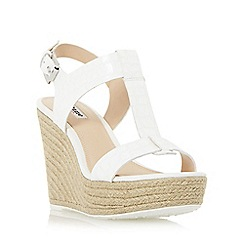 Dune - White 'Kelby' t-bar espadrille wedge sandal