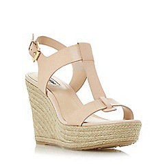 Dune - Natural 'Kelby' t-bar espadrille wedge sandal
