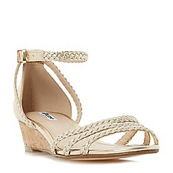 Dune - Gold 'Kassidy' plaited strap wedge sandal