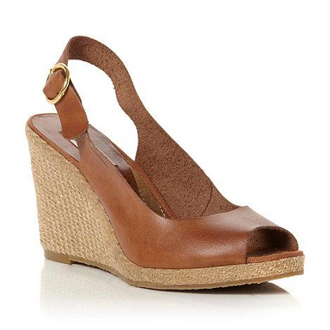 Dune - Brown peep toe espadrille slingback wedge sandal