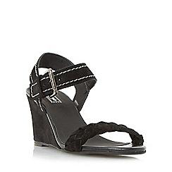 Dune - Black 'Keaton' plaited strap wedge sandal
