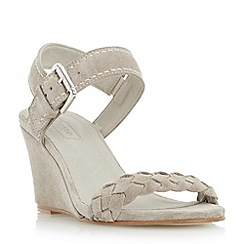 Dune - Grey 'Keaton' plaited strap wedge sandal