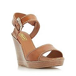 Dune - Tan 'Kamella' front strap platform wedge sandal