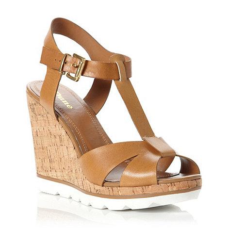 Dune - Tan leather +giraffe+ eva t-bar leather wedge sandal