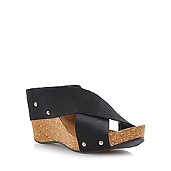 Dune - Black elasticated crossover strap wedge sandal