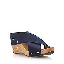 Dune - Navy elasticated crossover strap wedge sandal