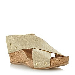 Dune - Gold 'Gladley' elasticated crossover strap wedge sandal