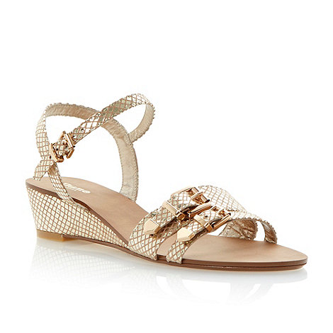 Dune - Metallic buckle detail low wedge sandal