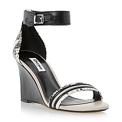 Dune - Multi leather two part tubular front wedge sandal