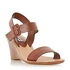 Dune - Brown leather stacked wedge sandal