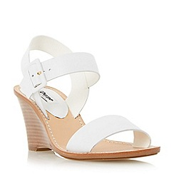 Dune - Neutral leather stacked wedge sandal