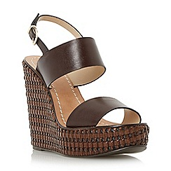 Dune - Brown front strap wedge sandal