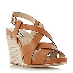 Dune - Brown strappy leather espadrille wedge sandal