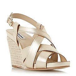 Dune - Metallic strappy leather espadrille wedge sandal