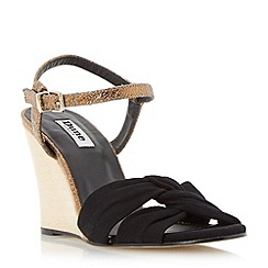 Dune - Black front knot detail wedge sandal