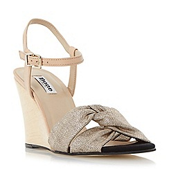 Dune - Metallic front knot detail wedge sandal