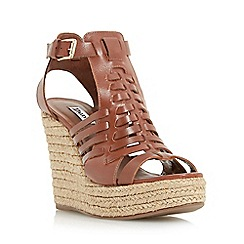 Dune - Tan 'Karnival' leather huarache wedge sandal