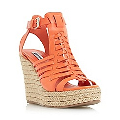 Dune - Orange 'Karnival' leather huarache wedge sandal