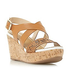 Dune - Tan 'Katness' laser cut front strap wedge sandal