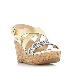 Dune - Gold 'Katness' laser cut front strap wedge sandal
