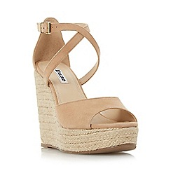 Dune - Natural 'Krystal' cross strap espadrille wedge sandal