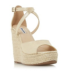 Dune - Gold 'Krystal' cross strap espadrille wedge sandal